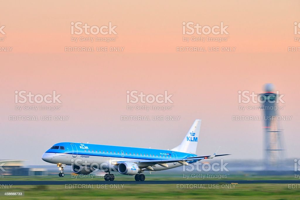 KLM taking off stock photo