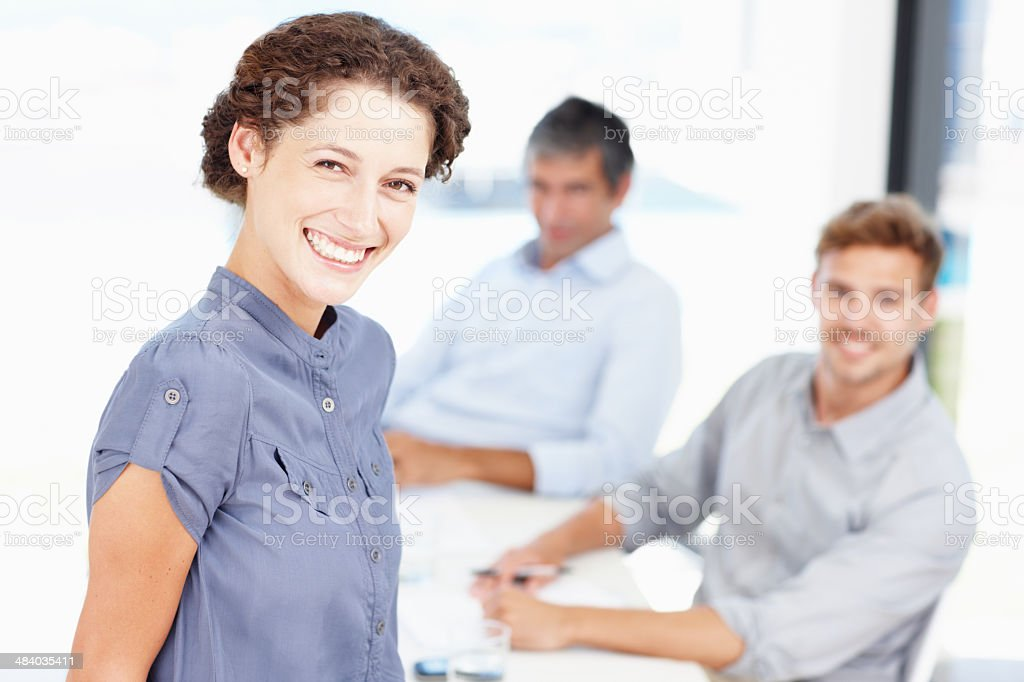 Taking on the business world with a smile royalty-free stock photo