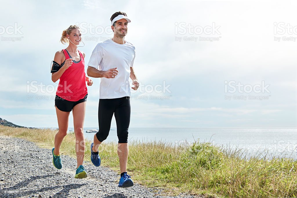 Taking on the trail together stock photo