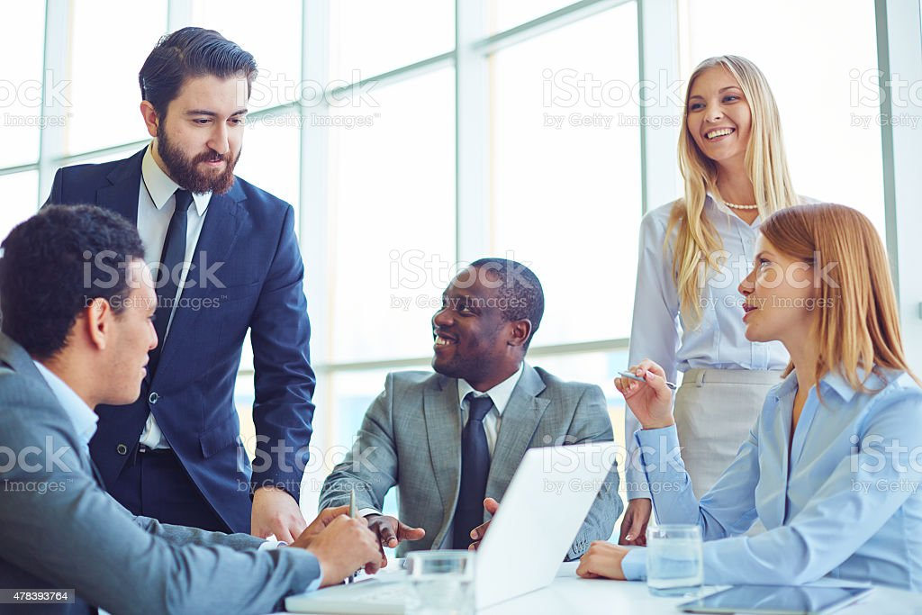 Taking part in discussion stock photo