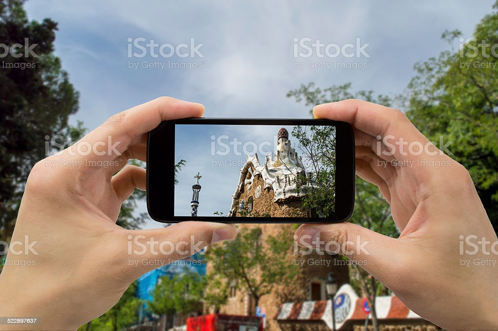 taking photo in Park Guell stock photo