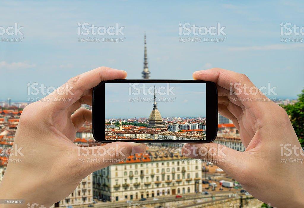 taking photo in Torino stock photo