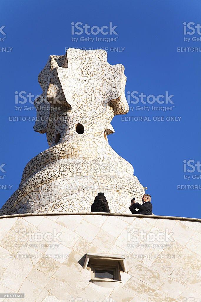 Taking photo on roof of Casa Mila stock photo