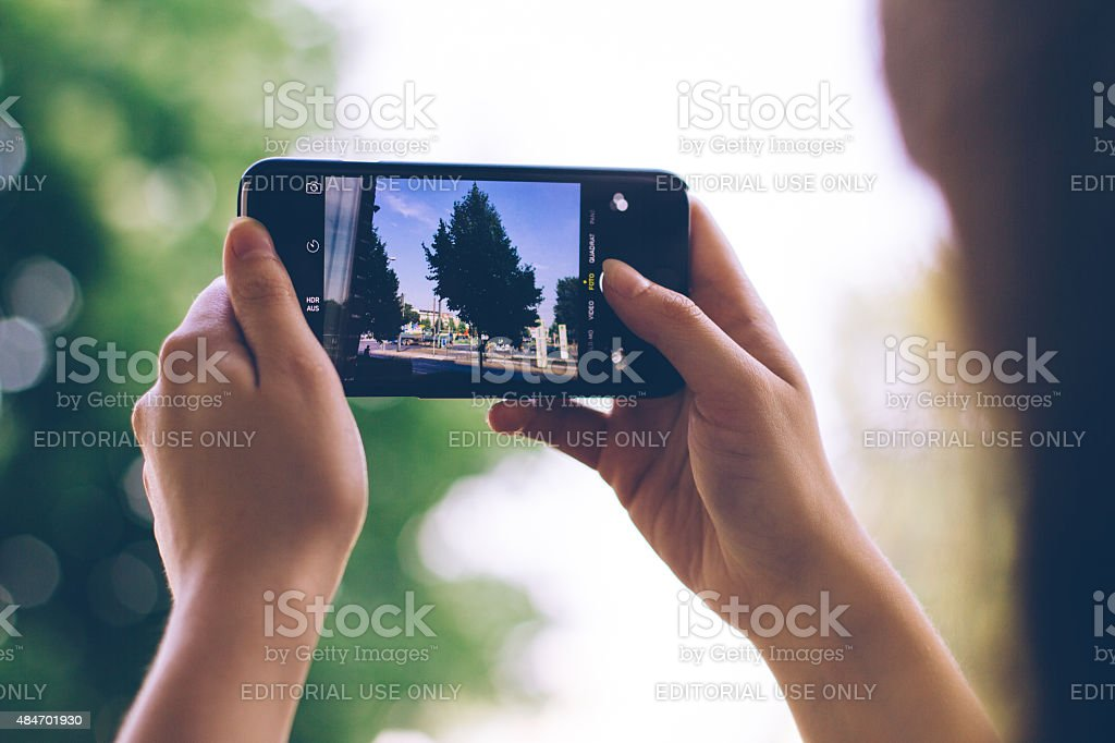 taking photograph with iphone stock photo
