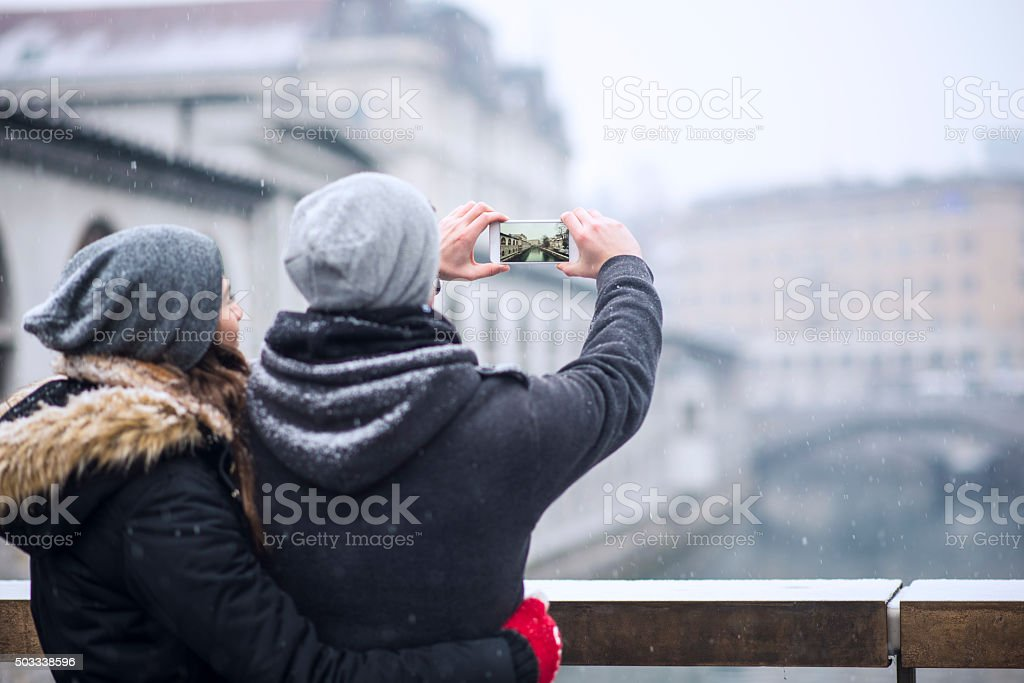 Taking photos of Ljubljana stock photo