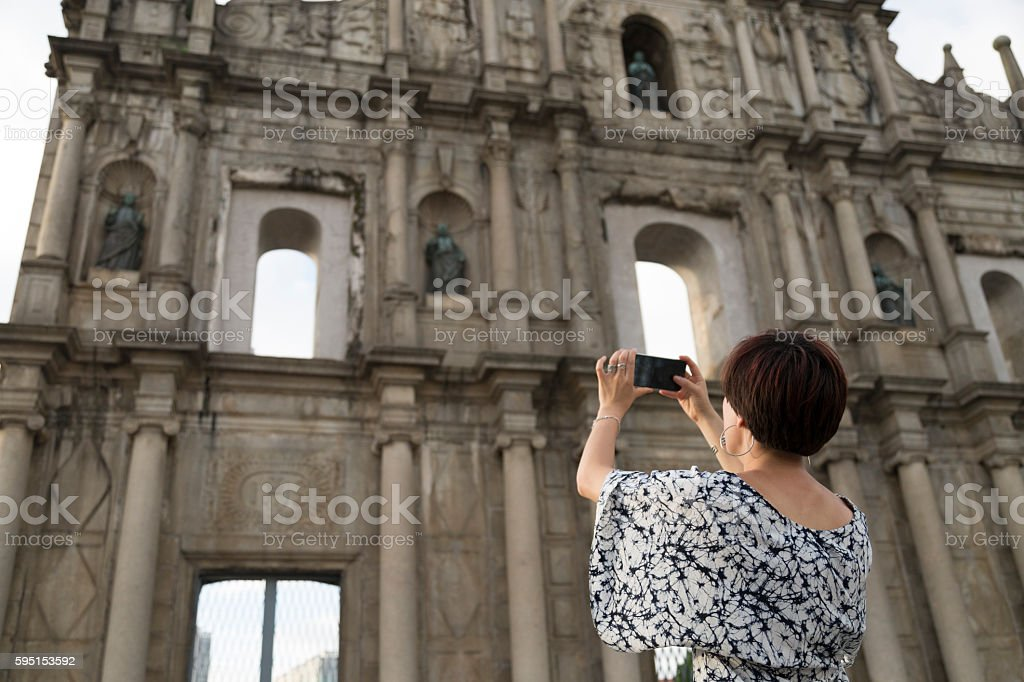 Taking photos, Ruins of the Church of St Paul stock photo