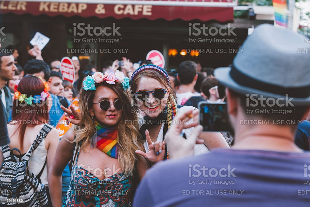 Taking picture at Gay Pride stock photo