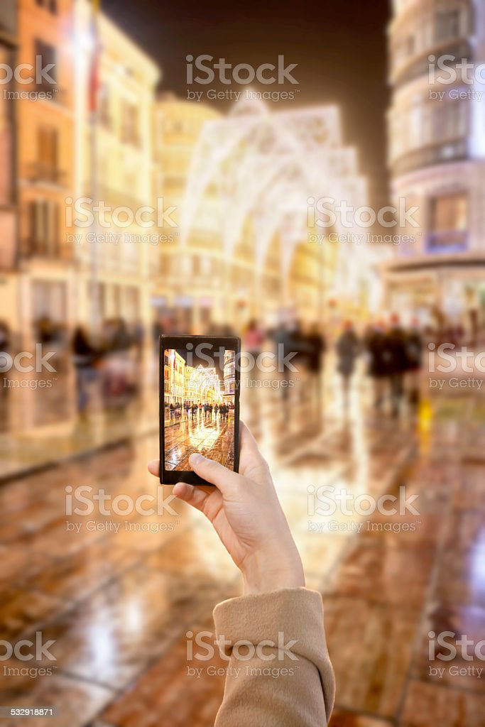 Taking picture by mobile stock photo