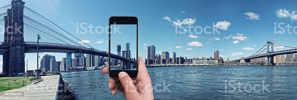taking picture in New York City stock photo