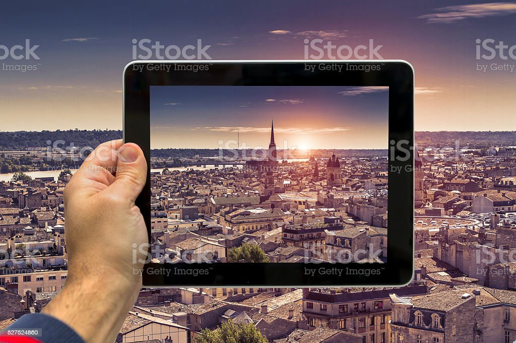 Taking picture of Bordeaux at sunset stock photo