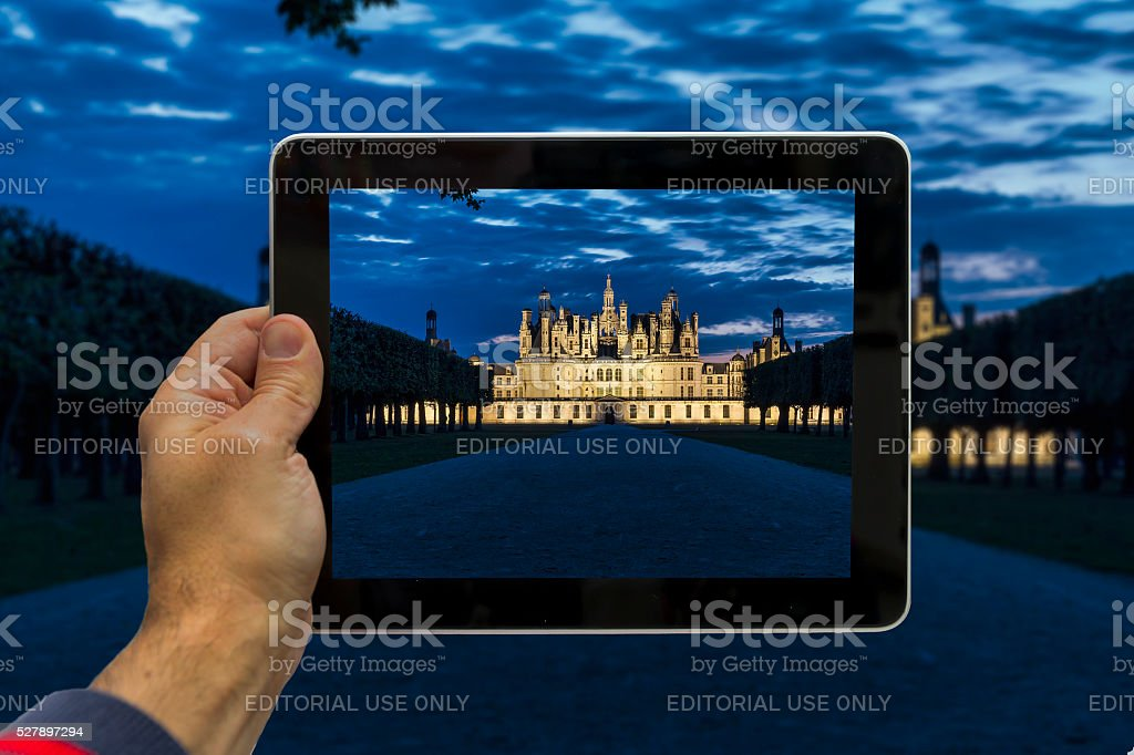Taking picture of Chambord Castle - Loire - France stock photo