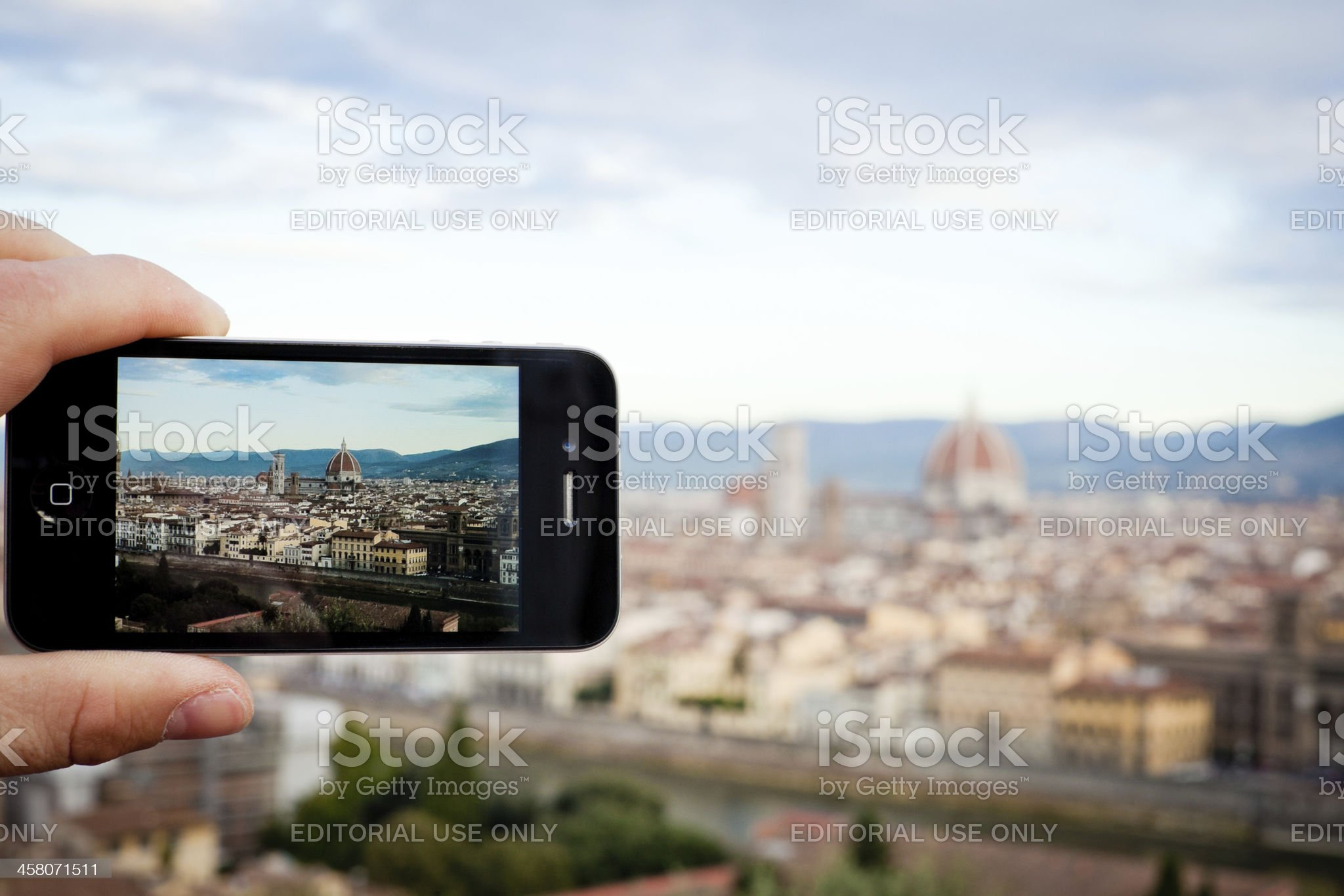 Taking Picture of Florence with Iphone 4 royalty-free stock photo