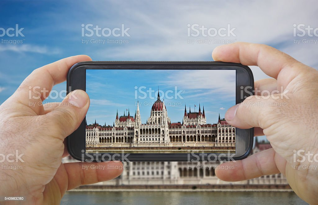Taking Picture of Hungarian National Assembly stock photo