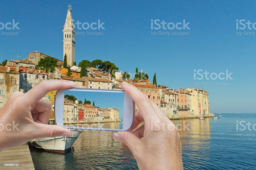 Taking  picture of the Rovinj (Croatia) stock photo