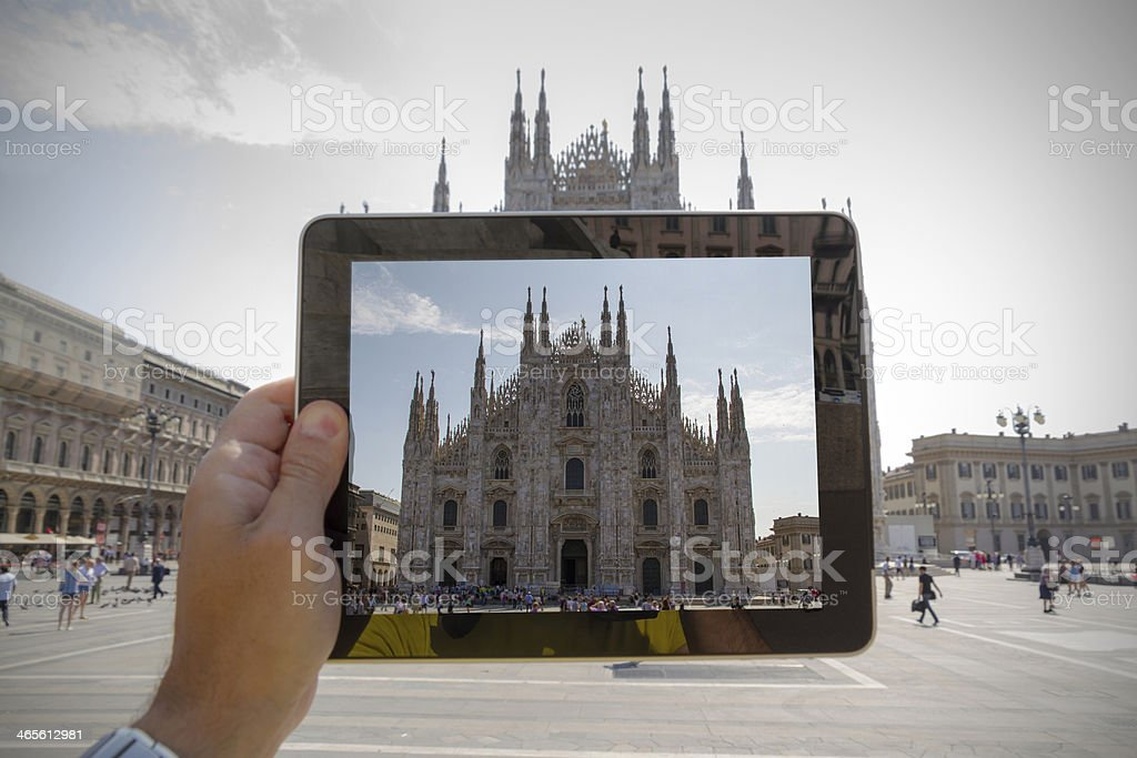 Taking picture with digital tablet in Milan royalty-free stock photo