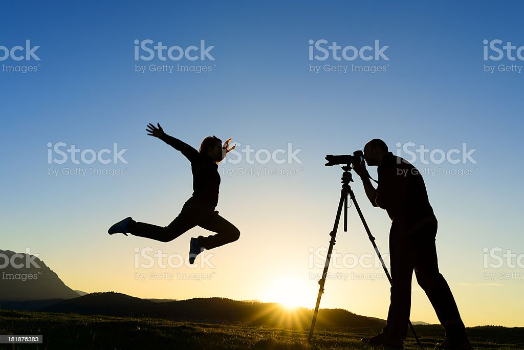 taking picures jumping royalty-free stock photo