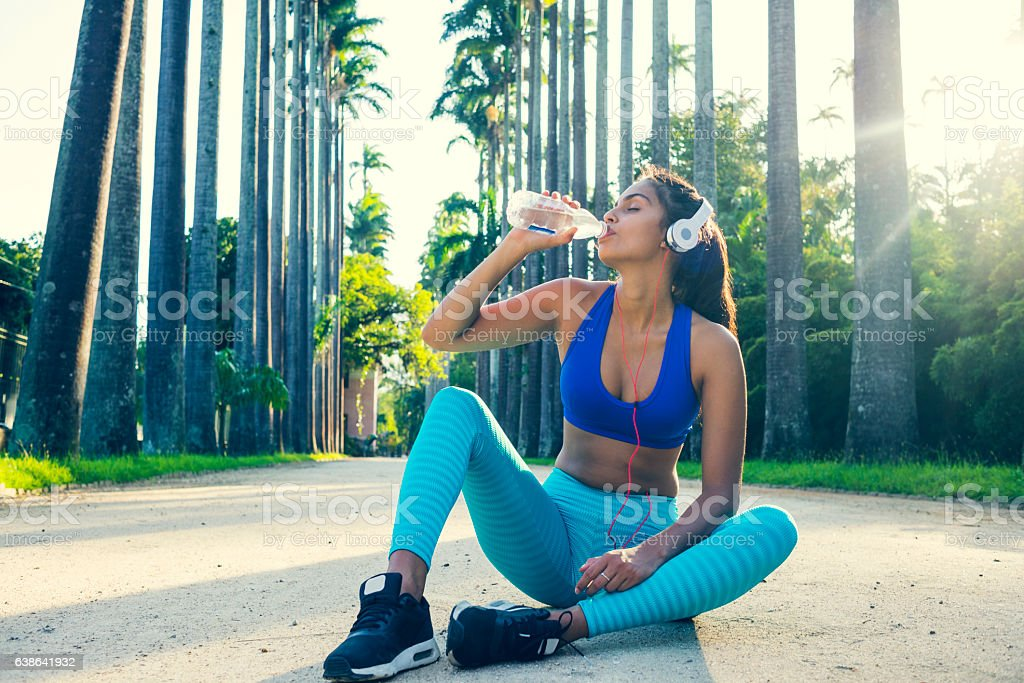 taking refreshments after working out stock photo
