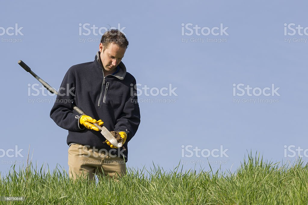 Taking samples of the soil and groundwater, environmental research. stock photo