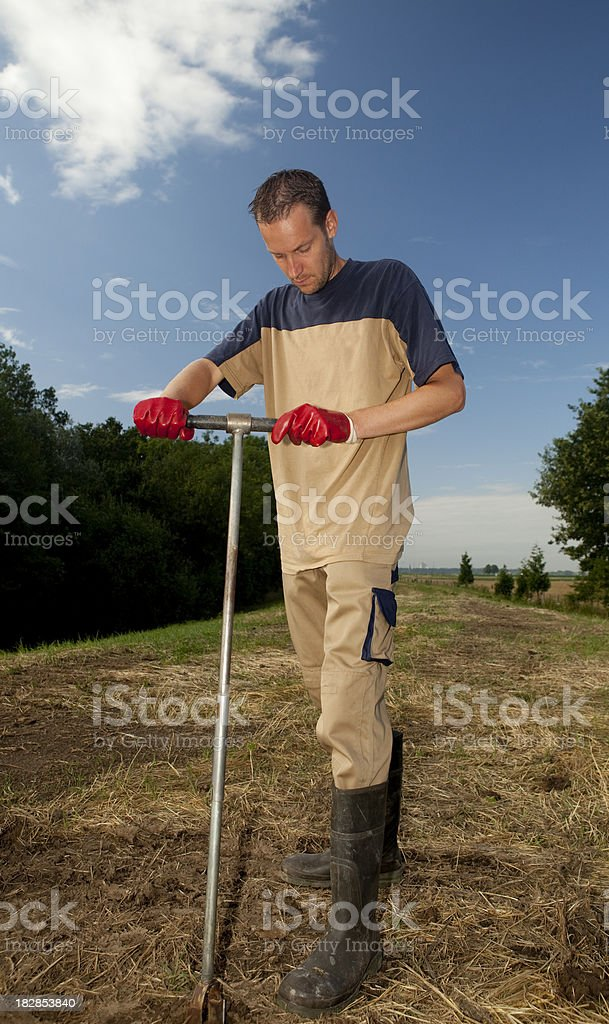 Taking samples of the soil and groundwater, environmental research stock photo