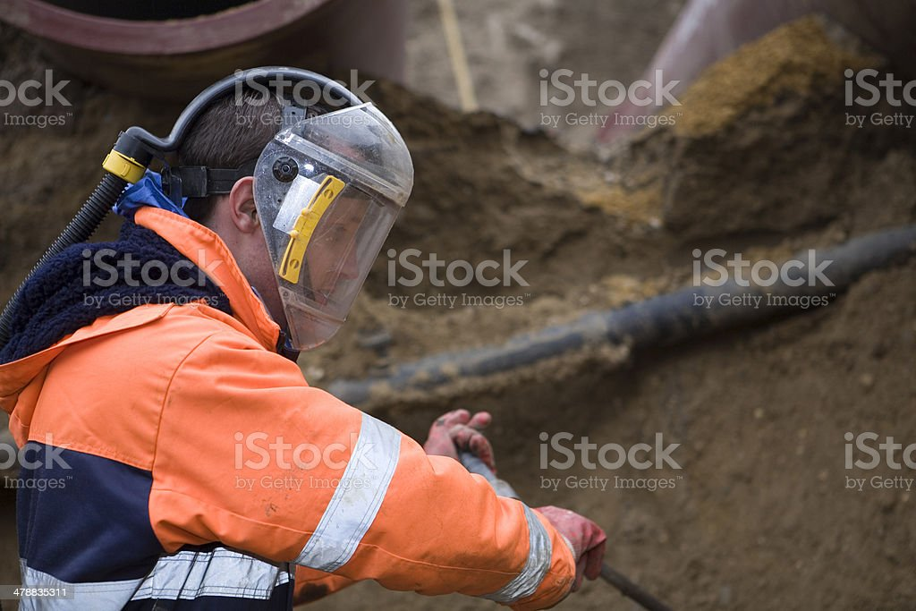 Taking samples of the soil, environmental research. stock photo