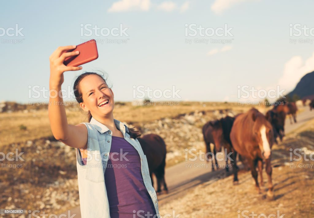 Taking selfie in nature stock photo