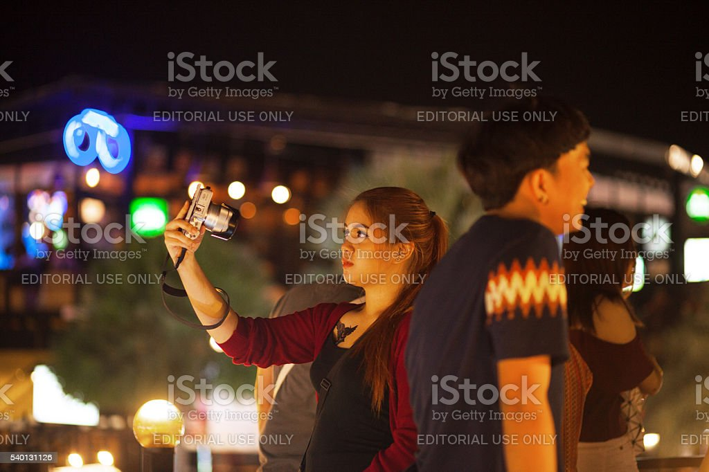 Taking selfie in night stock photo
