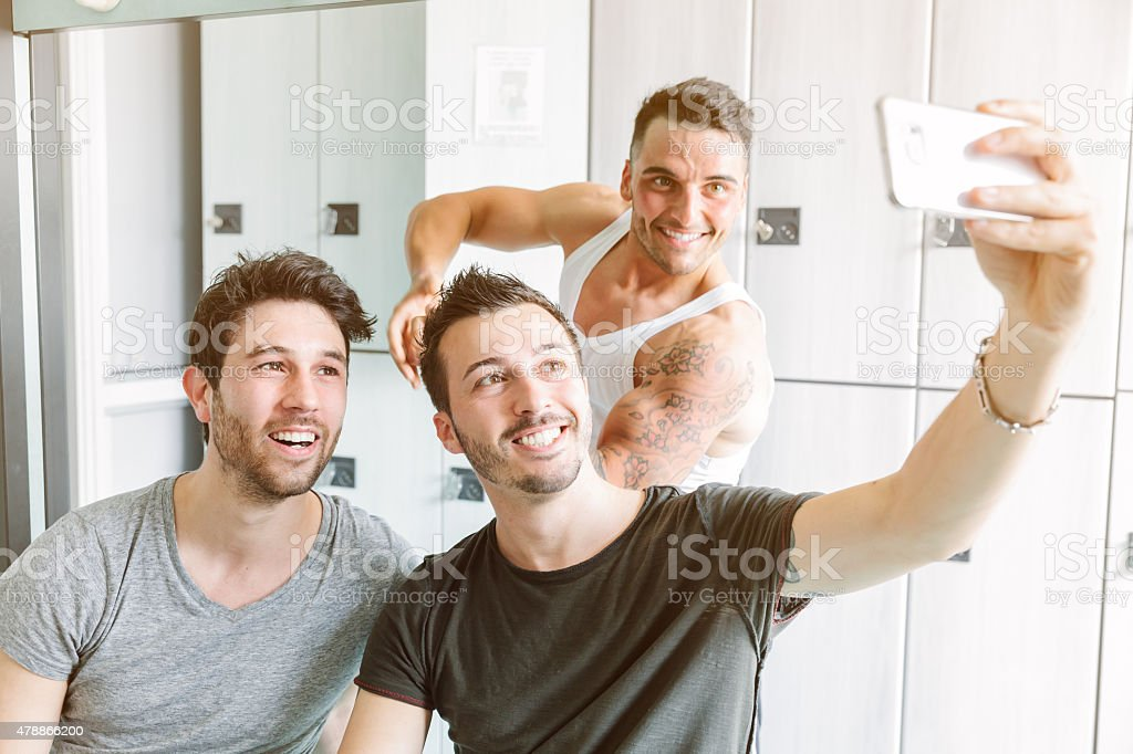 Taking selfie in the locker room after training stock photo
