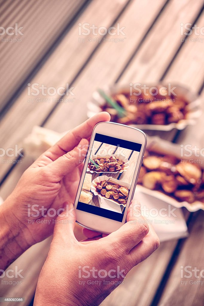 Taking Selfie of Delicious Currywurt - Curried Sausage stock photo