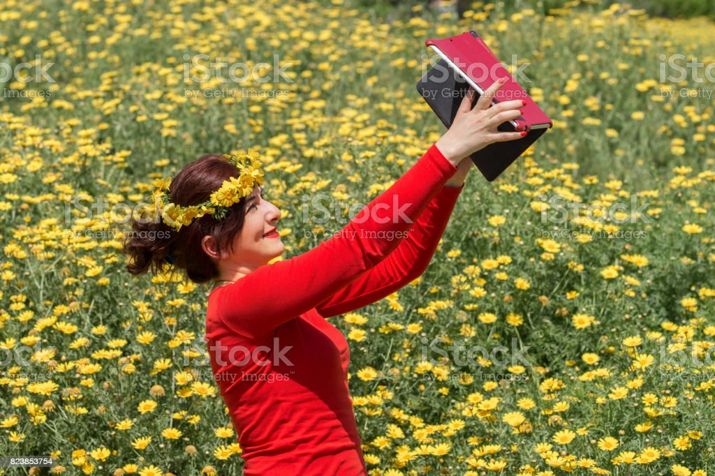 Taking Selfie stock photo