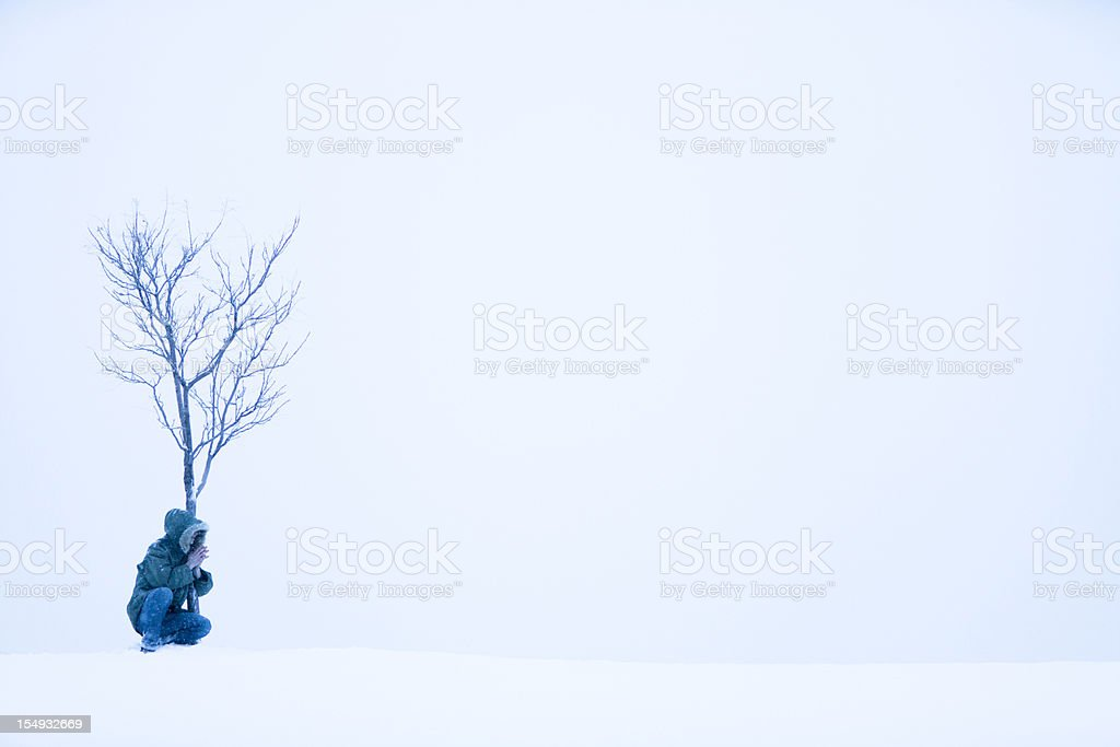 Taking shelter from the storm royalty-free stock photo