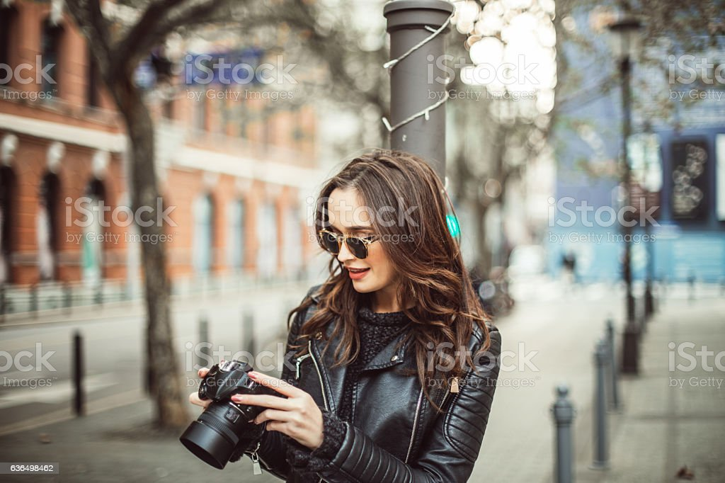 Taking shots in the city stock photo
