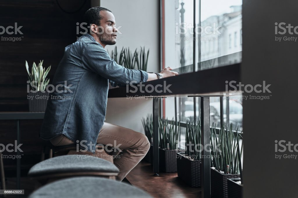 Taking some time to think. stock photo
