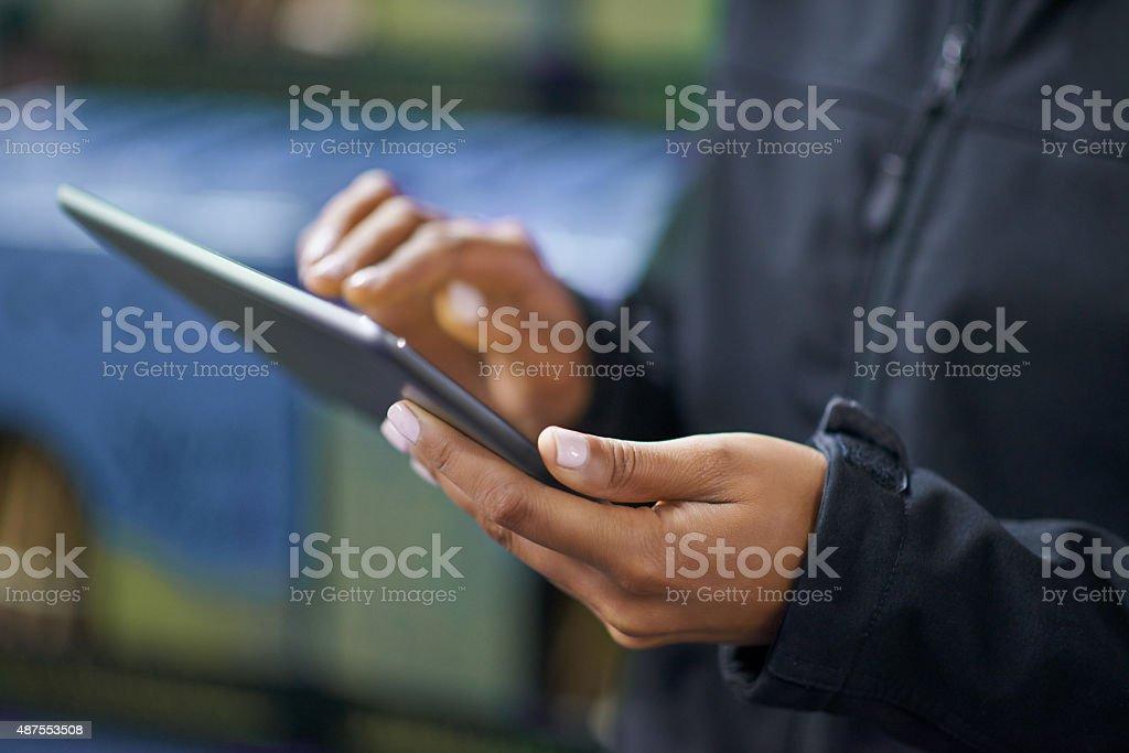Taking stock digitally stock photo