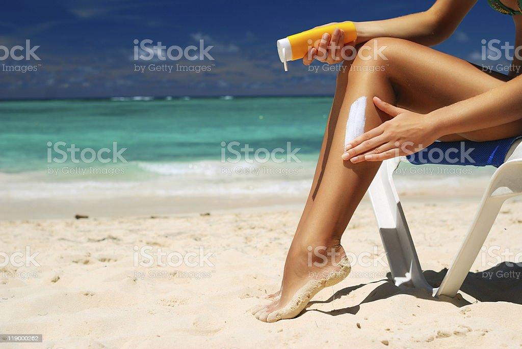 Taking sunbath stock photo