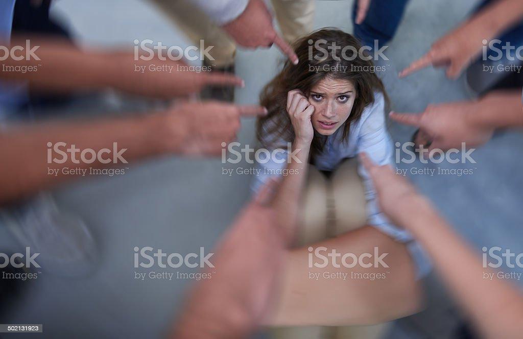 Taking the blame stock photo