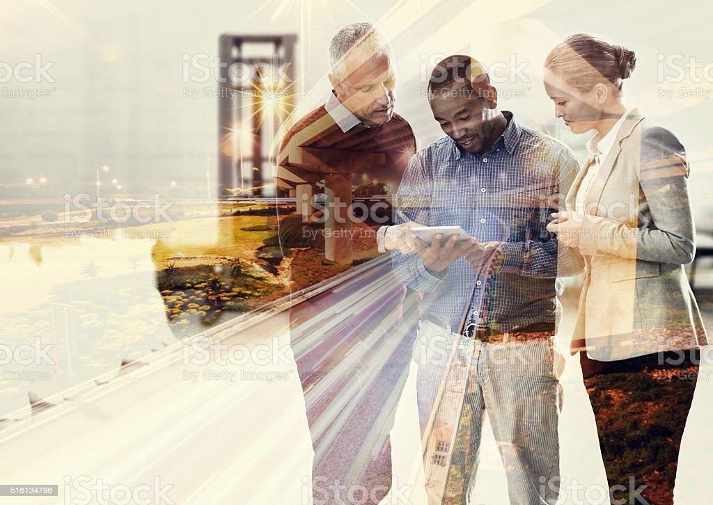 Taking the city through teamwork stock photo