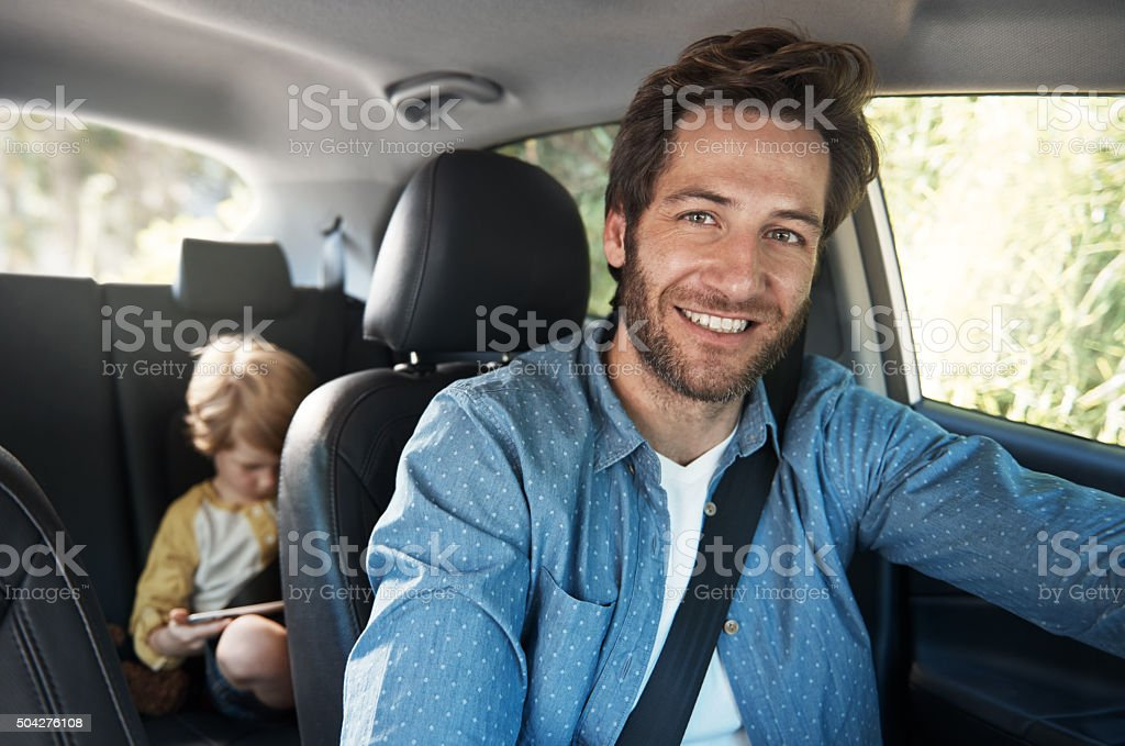 Taking the family on a road trip vacation stock photo