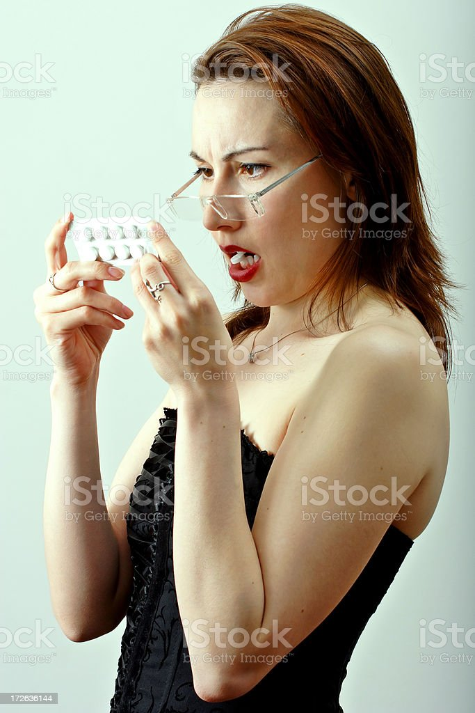 Taking the medicine royalty-free stock photo