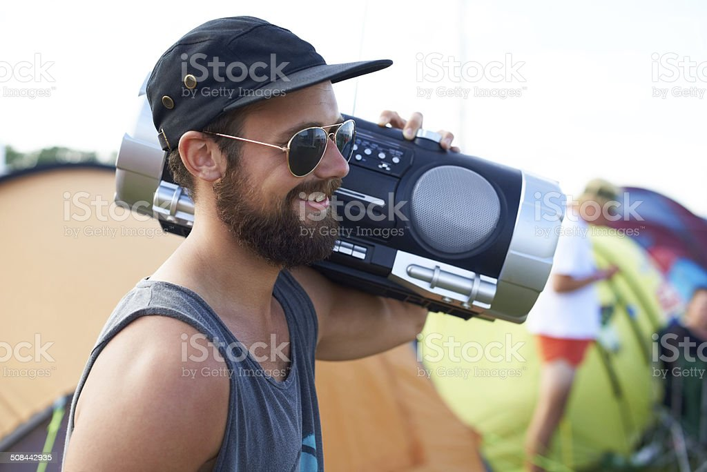 Taking the music with me! stock photo