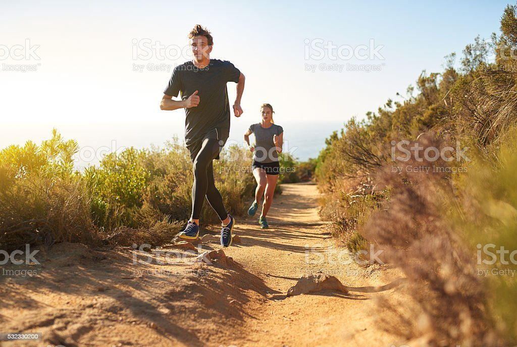 Taking the scenic route to fitness stock photo