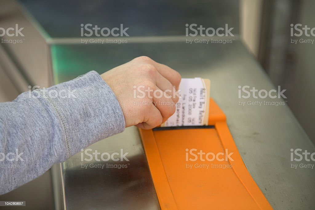 Taking Ticket stock photo