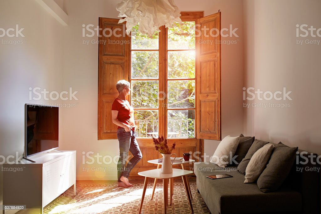 Taking time to reflect on her day stock photo