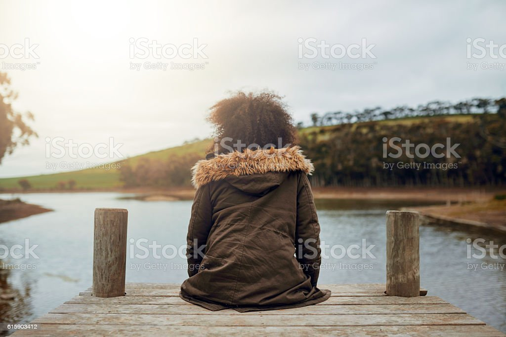 Taking time to reflect stock photo