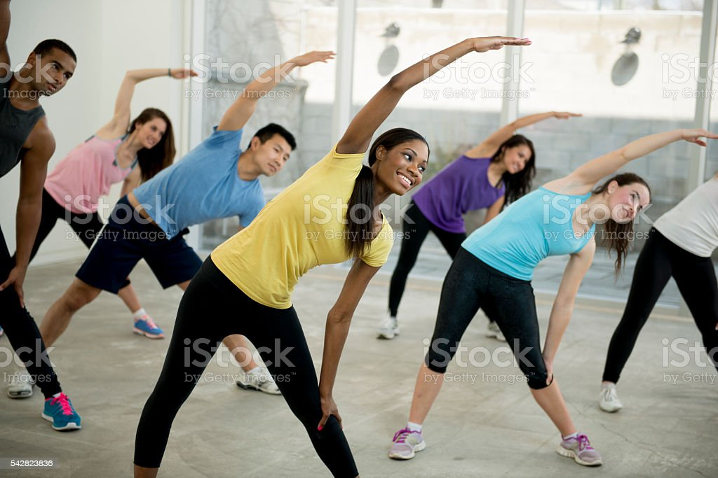 Taking Time to Stretch After a Workout stock photo