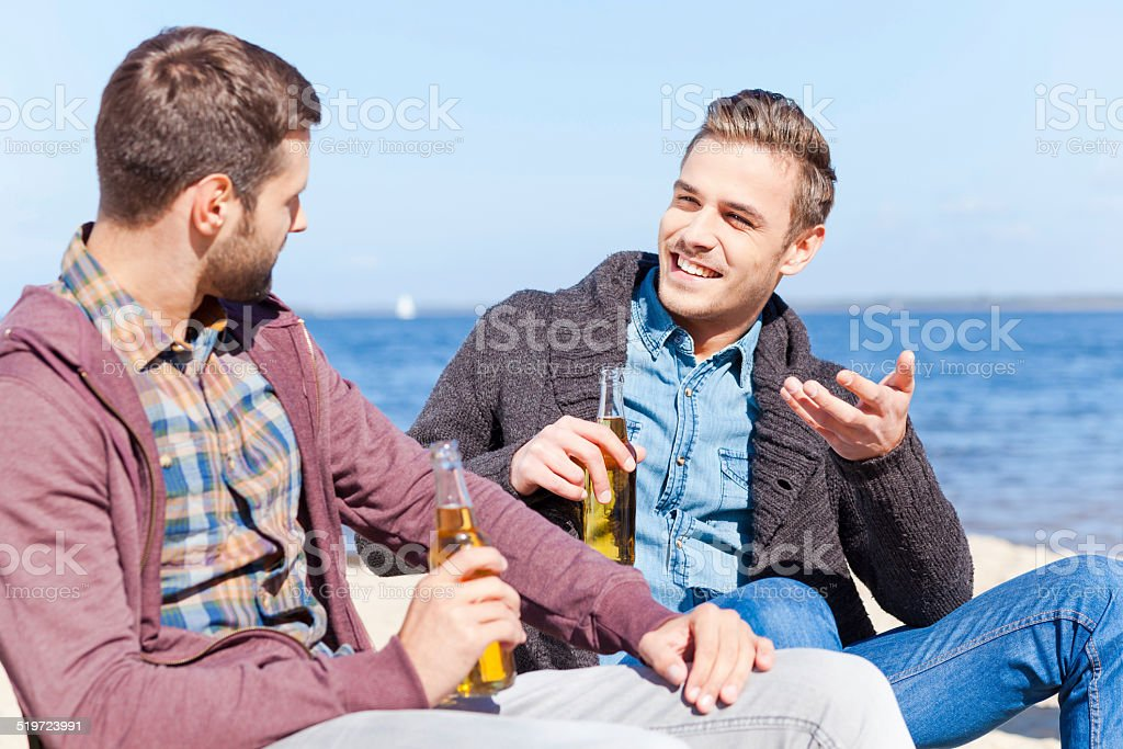 Taking time to talk with friend. stock photo