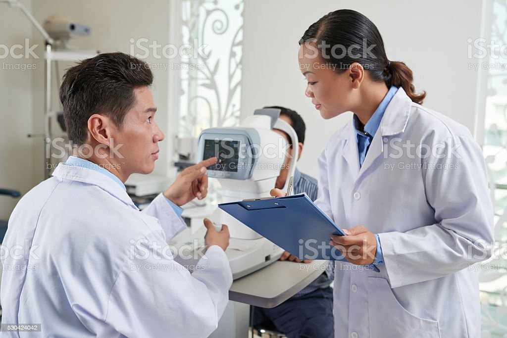 Taking to nurse stock photo