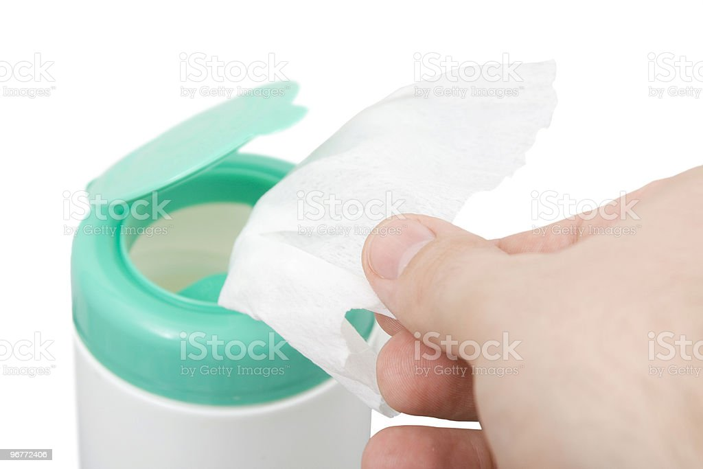 taking wipes stock photo