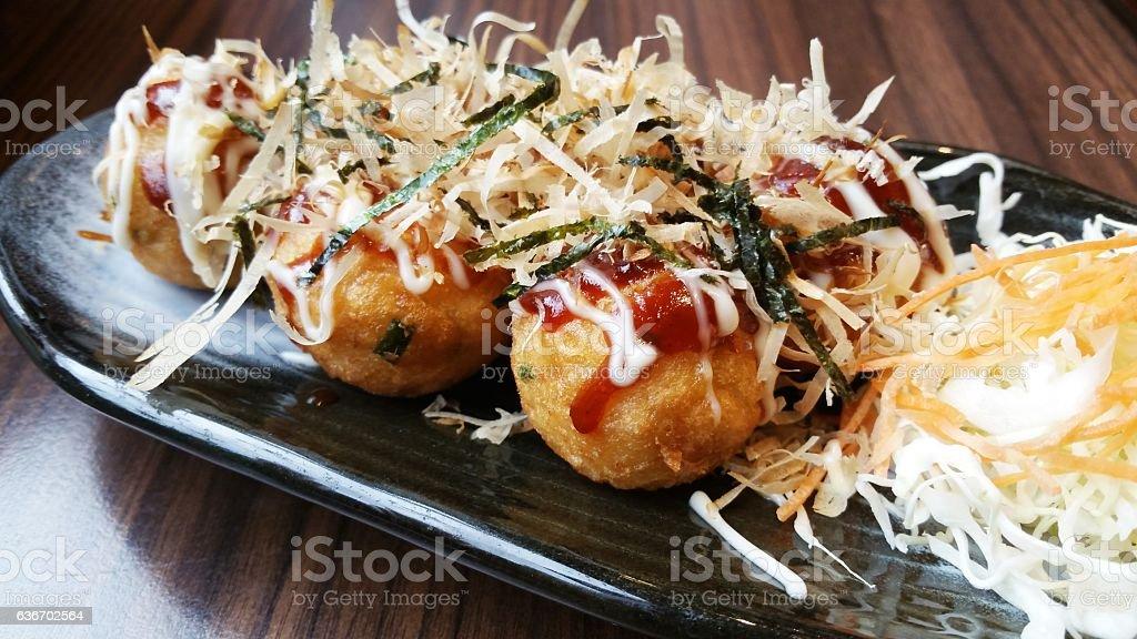 Takoyaki, a Japanese snack stock photo