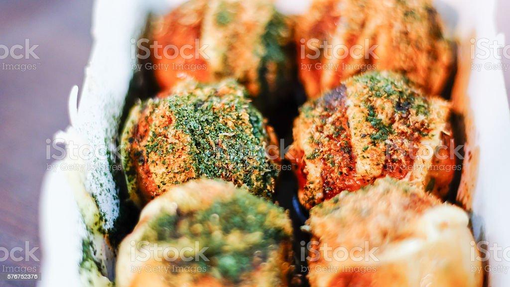 Takoyaki, delicious Japanese style octopus pancake, stock photo