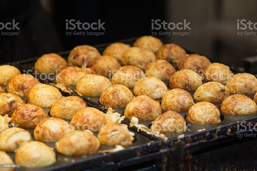 takoyaki, Japanese street food, selective focus stock photo